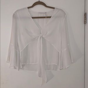 Lush Clothing - White Flowy Blouse
